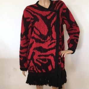 Chico's Red Black Plaid Wool Jacket Sweater 2 L XL